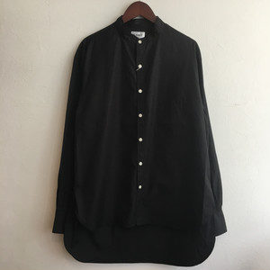 【H.UNIT】Broadcloth bandcollar L/S shirts BLACK