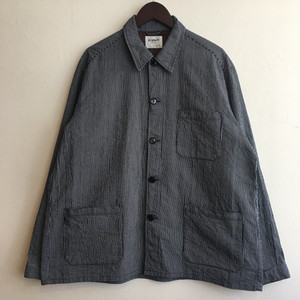 【H.UNIT】Cord stripe shirtall Navy