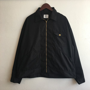 【H.UNIT】T/C poplin zip work jacket BLACK