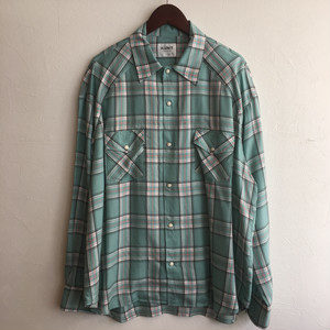 【H.UNIT】Tencel check wide western L/S shirt GREEN