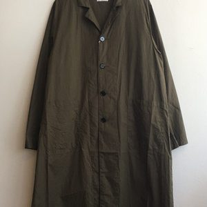 【H.UNIT】Broadcloth long atelie coat Khaki