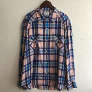 【H.UNIT】Tencel check wide western L/S shirt PINK