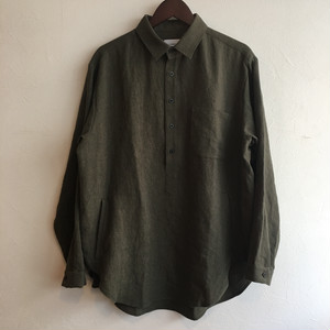 【FEW FABRICS】SWEDISH NATURAL DYED LINEN SHIRT KHAKI