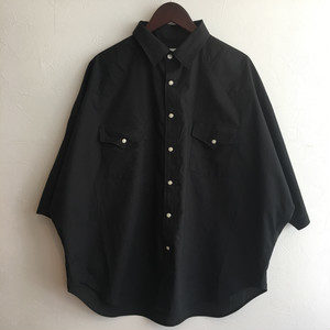 【H.UNIT】Typewriter western dolman S/S shirt Black