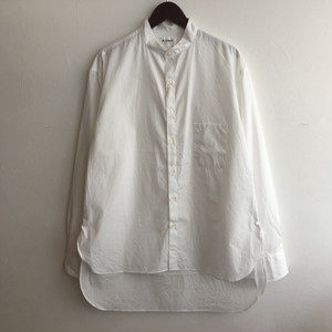 【H.UNIT】Broadcloth bandcollar L/S shirts WHITE