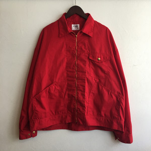 【H.UNIT】T/C poplin zip work jacket RED