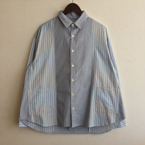 【H.UNIT】Stripe crazy wide L/S shirt Blue