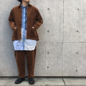 【H.UNIT】8w corduroy SHIRTALL&COCK PANTS / 重厚感のあるコーデュロイセット。