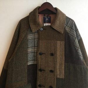 【H.UNIT】British wool patchwork long coat