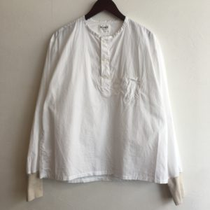【H.UNIT】broardcloth sleeping rib shirt White