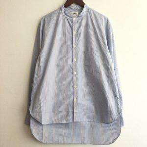 【H.UNIT】typewriter bandcollar stripe shirt Blue×Beige