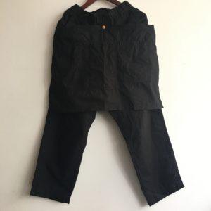 【H.UNIT】weather cloth apron easy pant Black