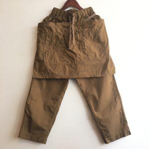 【H.UNIT】weather cloth apron easy pant Beige