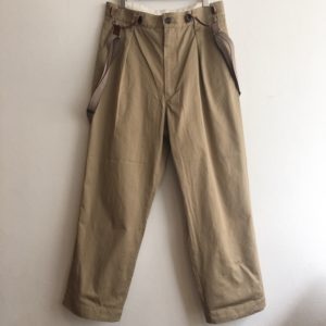 【H.UNIT】combat twill suspener trouser Beige