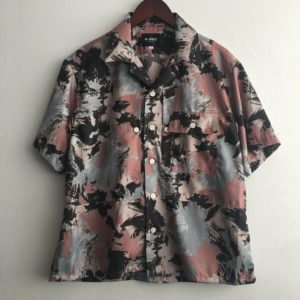 【H.UNIT】Flower camo print triple pocket S/S shirt Black×Pink