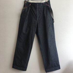 【H.UNIT】chino denim suspener trouser Indigo