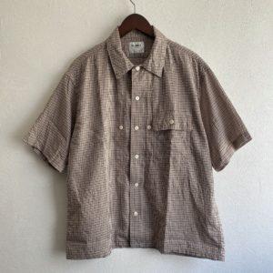 【H.UNIT】Voil check triple pocket S/S shirt Gun club check