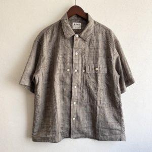 【H.UNIT】Voil check triple pocket S/S shirt Gren check
