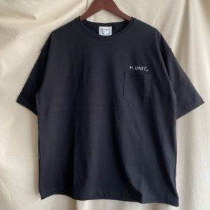 【H.UNIT】H.UNIT Logo 刺繍tee Black