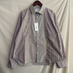 【H.UNIT】Stripe crazy wide L/S shirt Beige