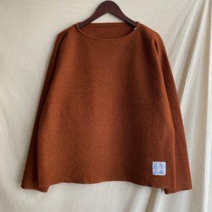【H.UNIT】Boild wool cut off basque shirt Kakiiro