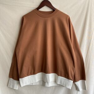 【H.UNIT】Jersey stitch wide L/S T-shirt Camel