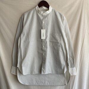 【H.UNIT】Stripe bandcollar cleric L/S shirt Beige