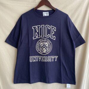 【H.UNIT】Nice college print tee Navy