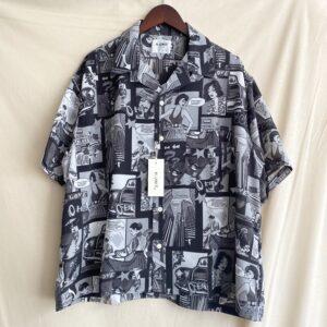 【H.UNIT】American print opencollar S/S shirt Black
