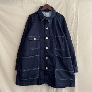 【H.UNIT】Knit denim oversize work jacket Indigo